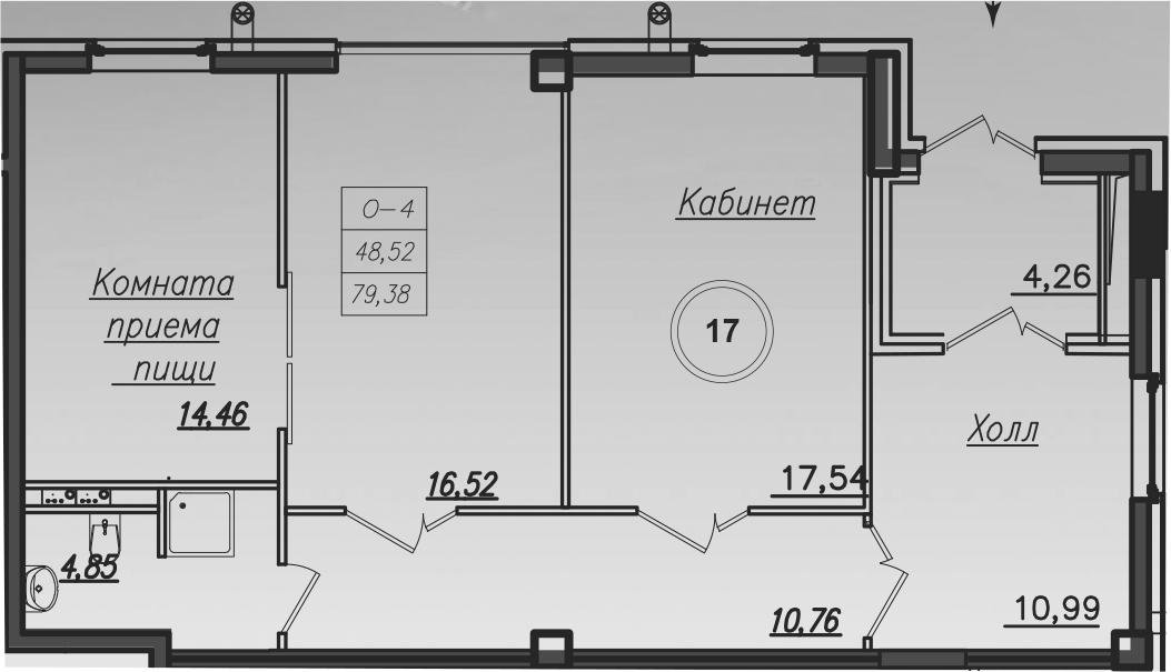 Планировка Трёхкомнатная квартира площадью 79.7 кв.м в ЖК «Дибуновская 30»