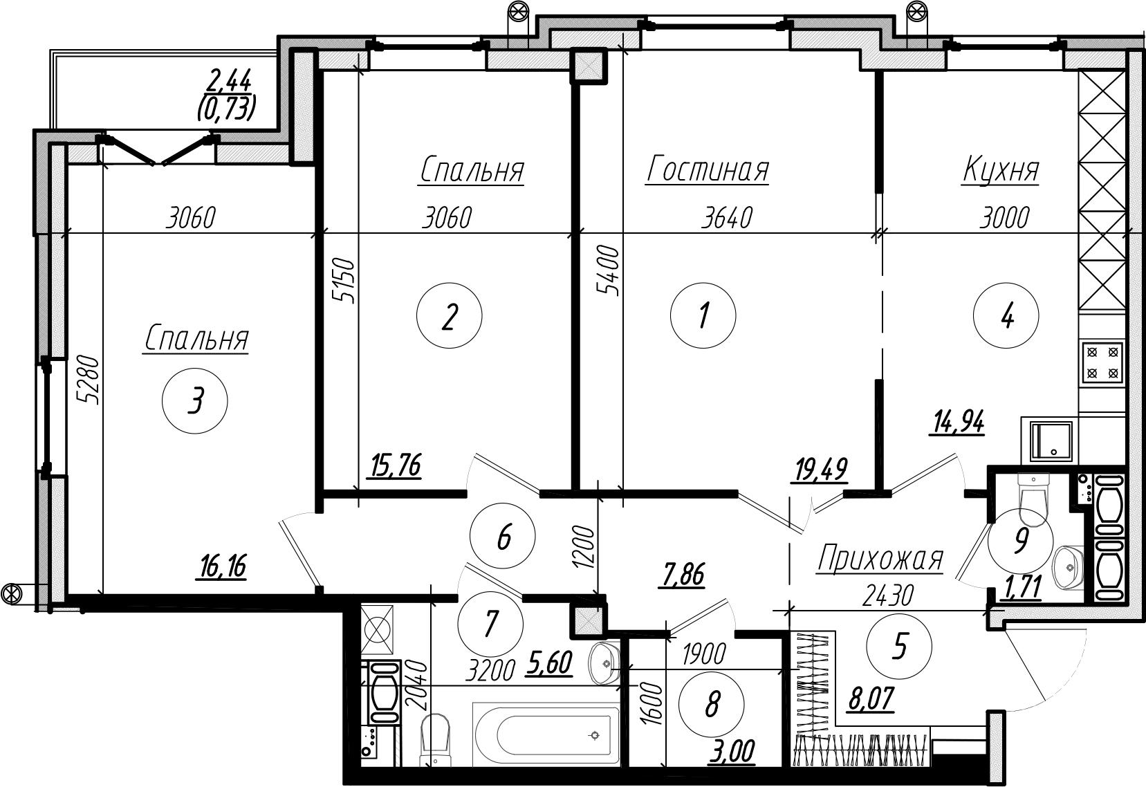 Планировка Трёхкомнатная квартира площадью 94 кв.м в ЖК «Дибуновская 30»