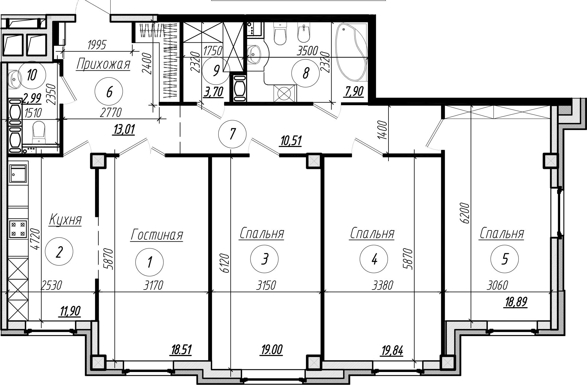 Планировка Четырёхкомнатная квартира площадью 126.5 кв.м в ЖК «Дибуновская 30»