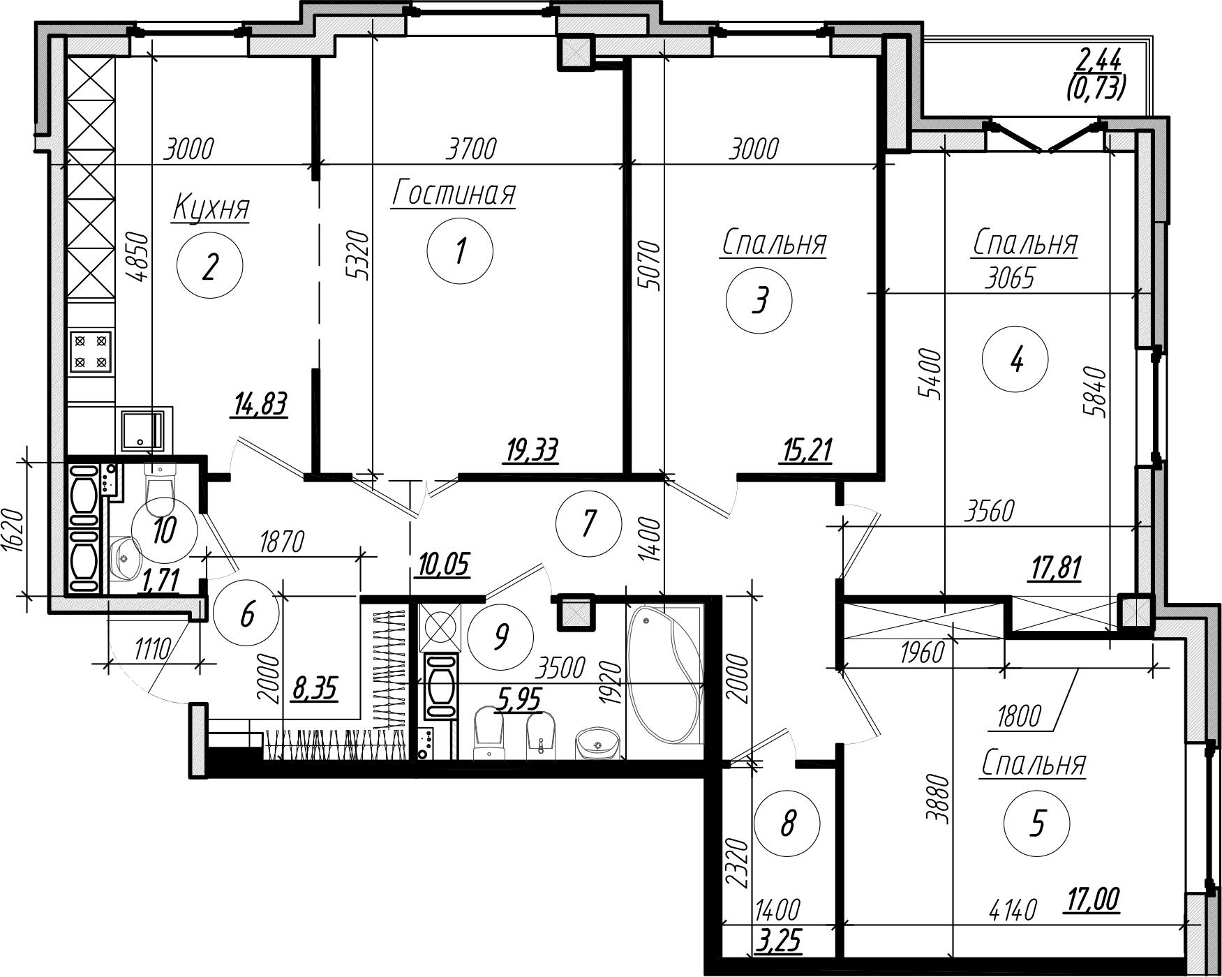 Планировка Четырёхкомнатная квартира площадью 114.2 кв.м в ЖК «Дибуновская 30»