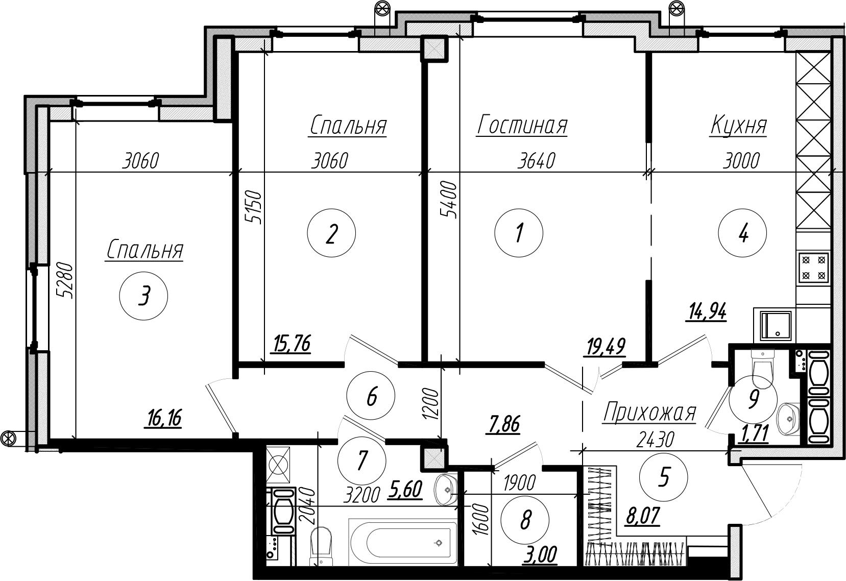 Планировка Трёхкомнатная квартира площадью 92.9 кв.м в ЖК «Дибуновская 30»
