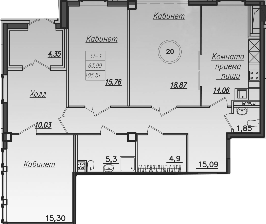 Планировка Четырёхкомнатная квартира площадью 107.2 кв.м в ЖК «Дибуновская 30»