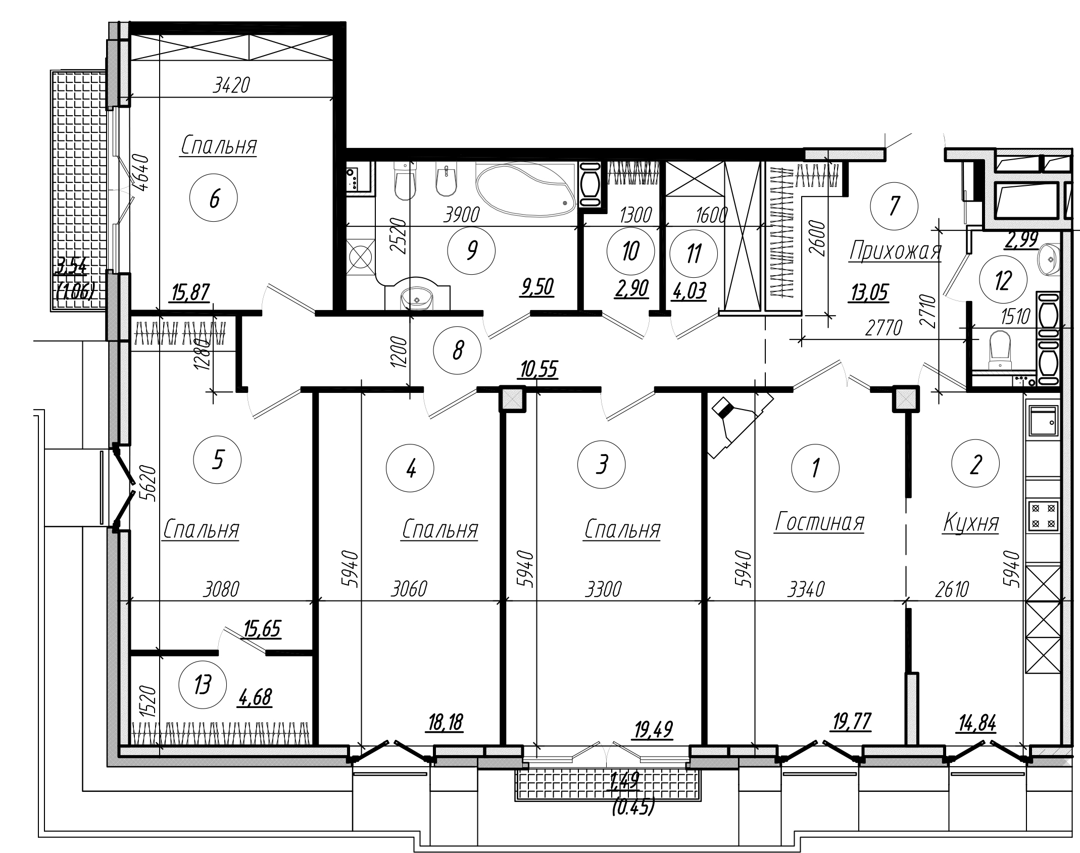 Планировка Пятикомнатная квартира площадью 156.6 кв.м в ЖК «Дибуновская 30»