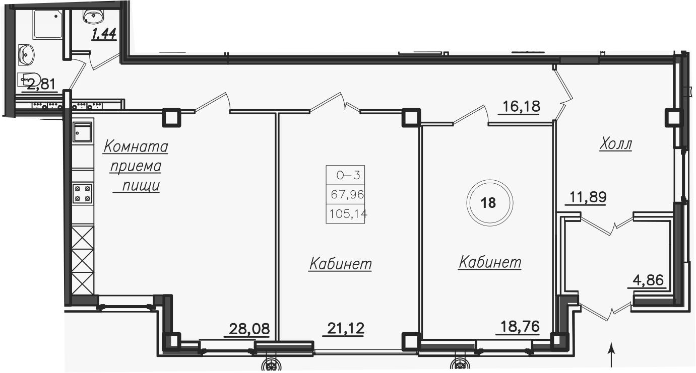 Планировка Трёхкомнатная квартира площадью 106.2 кв.м в ЖК «Дибуновская 30»